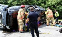 July 19, 2012 - Several people were injured and taken to UMass folowing this rollover accident on Rt 495 northbound near exit 21. More photos at Scene in Hopkinton.© Dick Bartlett