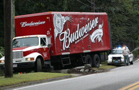 September 8, 2011 - This Budweiser delivery truck caused some property damage when it went off the road at 38 East Main Street at about 1:30 PM.© Dick Bartlett