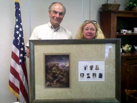 "May 6, 2011 - Sarah Duckett presented the Senior Center with a framed copy of ""Honoring the Spirit"" today at the Veteran's Breakfast.© Michelle Murdock"