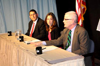 May 9, 2011 - Three School Committee candidates debate at HCAM Studios. (l. to r.) Scott Aghababian, Nancy Burdick and Richard de Mont.© Mike Torosian