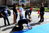 April 14, 2011 - Jack LeDuc and his crew paint the start line for the Marathon on East Main Street.© Dick Bartlett