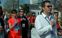 April 16, 2012 - Selectmen Todd Cestari and Brian Herr pledge allegiance to the flag before the start of the race.© Michelle Murdock
