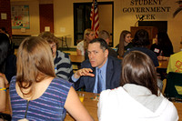 Superintendent Jonathan Landman talks to students at the 18th Annual Student Government Breakfast.