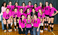 October 21, 2011 - The Hiller Varsity Volleyball Team are sporting pink against Millis for their Dig Pink Fundraiser. © Mike Torosian
