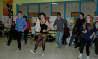 October 27, 2011 - Maddalena, an international student from Italy, teaches Hopkinton students an Italian techno dance. © Michelle Murdock