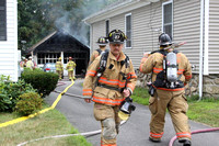 August 5, 2011 - Hopkinton firefighters responded to assist Milford as a Rapid Intervention Team at a garage fire on Westbrook Street. Eng 4 and Chief Clark responded.© Dick Bartlett