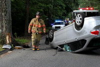 August 20, 2011 - One person was injured and transported to Milford Hospital by the Ashland ambulance following this rollover on Hayward Street at about 3:30 PM.© Dick Bartlett