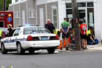 July 24, 2011 - . A bicyclist was in an accident at Main and Cedar Streets at about 11 AM; one person was transported to the hospital.© Dick Bartlett