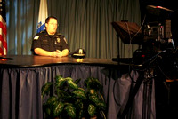 August 24, 2011 - Hopkinton Police Chief Rick Flannery stops by the HCAM studios to broadcast a message of safety for the up coming first day of school on August 30th.© Jim Cozzens