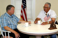July 1, 2011 - Host Dick Gooding sits down with Retired Marine Corps Maj. Gerry Broduer for an episode of Veterans Remember that was filmed at the Senior Center.© Mike Torosian