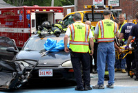 June 8, 2011 - The Hopkinton ambulance transported one person to the hospital following a two car crash at Main Street and Homer Ave in Ashland.© Dick Bartlett