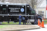 April 14, 2011 - The Mass. State 911 Dept. sets up a command post at the Marathon start line.© Dick Bartlett