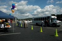 A shuttle bus transported guests from the parking lot in Hopkinton to the company's headquarters in Westboro.