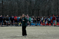 Nicole Anagnostaras, a member of the Girls Varsity Basketball team at Hopkinton High, throws the opening pitch at the Little League parade on Sunday, April 10, 2011.Photo by Michelle Murdock